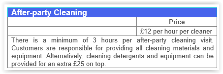 After-party cleaning Fulham prices